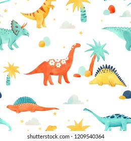Cute kids watercolor pattern with dinosaurs, funny animals. Tropical print with palms, laptops and sky. Clouds and stars. Brachiosaurus, tyrannosaurus, Stegosaurus, Brontosaurus, Triceratops