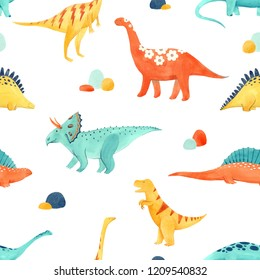 Cute kids watercolor pattern with dinosaurs, funny animals. Orange, yellow, blue. Brachiosaurus, tyrannosaurus, Stegosaurus, Brontosaurus, Triceratops.