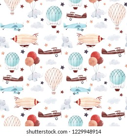 Cute kids watercolor pattern. Wallpaper for a boy, a starry sky with a yellow and blue aerostat, dirigible and airplanes, elephants and balloons