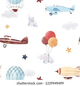 Cute kids watercolor pattern. Wallpaper for a boy, a starry sky with a aerostat, dirigible and airplanes, elephants and balloons
