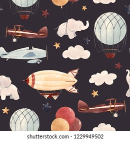 Cute kids watercolor pattern. Wallpaper for a boy, a starry sky with a aerostat, dirigible and airplanes, elephants and balloons. retro wallpaper