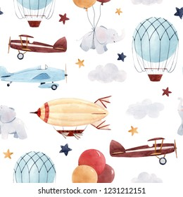 Cute kids watercolor pattern. Wallpaper for a boy, a starry sky with a aerostat, dirigible and airplanes, elephants and balloons.