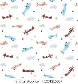 Cute kids watercolor pattern. Wallpaper for a boy, a starry sky with a balloon, flying airplanes
