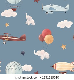Cute kids watercolor pattern. Wallpaper for a boy, a starry sky with a aerostat, dirigible and airplanes, elephants and balloons. Gray background