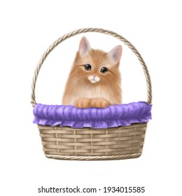 cute kitten in the basket hand drawn illustration, clipart with cartoon characters, holiday card design, birthday and easter postcard and posters