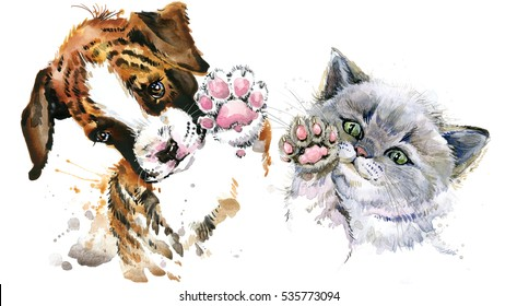 Cute kitten. funny dog. watercolor cat and puppy illustration.