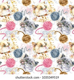 Cute kitten playing ball of wool threads hand drawn watercolor seamless pattern. domestic cat illustration