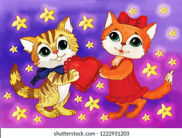 Cute kittens give a valentine with love. Painted in watercolor.