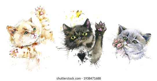 cute kittens set. playing cats watercolor illustration.