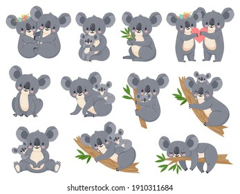 Cute koala and baby. Cartoon little koalas with moms. Australian bear loving couple hug. Baby shower party. Nature jungle animals  set. Illustration cartoon koala animal, cute bear baby