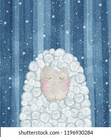 Cute lamb. Winter greeting card