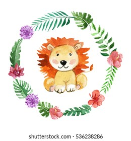 Cute lion Animal for kindergarten, nursery, children clothing, baby pattern