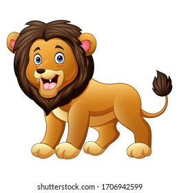 Cute a lion cartoon isolated on white background
