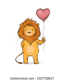 Cute lion drawn with a balloon in the form of a heart. On white background.