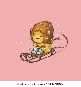 Cute lion rides on a sled in the snow. Christmas illustration.