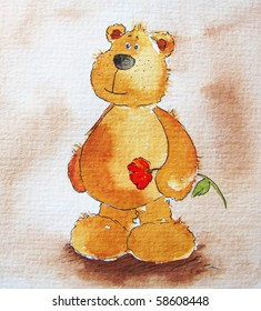 Cute littel teddy bear red flower in hands. Art is painted and created by photographer.