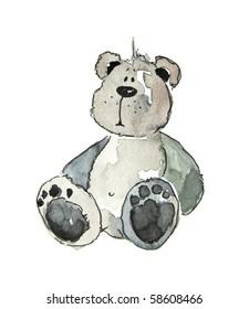 Cute littel teddy bear watercolour illustration. Art is painted and created by photographer.