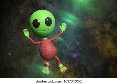 cute little alien cartoon character is waving his hand in empty space lit by a mysterious green light (3d illustration background)