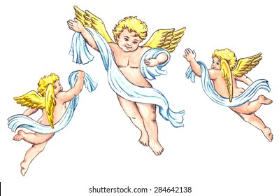 Cute little angels with wings isolated on white background - watercolor illustration