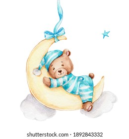 Cute little bear boy sleeping on the moon; watercolor hand drawn illustration; can be used for baby shower or postcard; with white isolated background