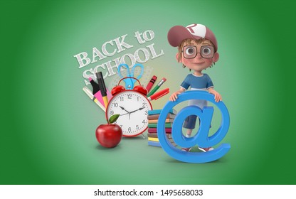 Cute little boy is in front of a Back To School text doodle with school stationaries on a green background with several items representing education and school. 3D Rendering.