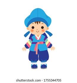 Cute little boy in Korean traditional costume(Hanbok).
