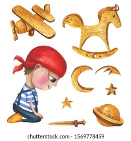 A cute and little boy who looks like a pirate. Set of boy and wood toys - plane,rocking horse, moons, stars, planet and sward. Watercolor hand drawn illustration.