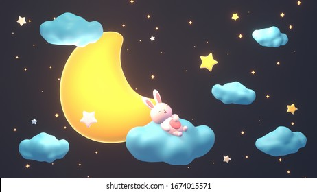 Cute little bunny sleeping on soft fluffy pastel blue clouds at night. 3d rendering picture.