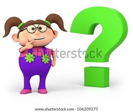 Cute Little Cartoon Girl Question Mark Stock Illustration Royalty