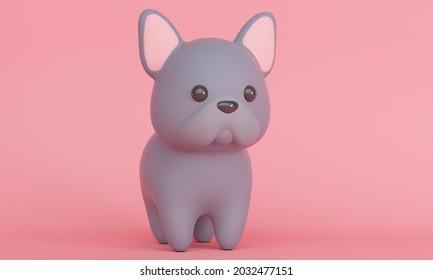 Joli petit chien, Chien à Balles français sur fond rose. Rendu 3d