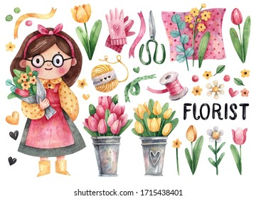 Cute little florist girl and her tools - flowers, scissors, ribbons, gloves - hand-drawn in watercolor isolated on white background illustration. Watercolor illustration of a girl florist
