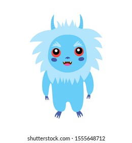 Cute little fluffy monster, isolated white bacground. Fancy beast background. Raster illustration funny Yeti. Abominable Snowman. Bigfoot, Sasquatch bigfoot.