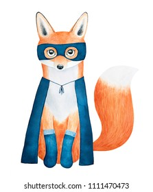 Cute little fox character dressed in dark blue superhero suit: cape, mask and knitted socks. Hand painted watercolour graphic drawing on white background, isolated artwork. Fluffy, funny, sweet.