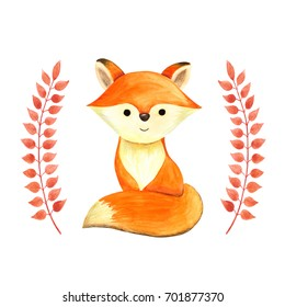 Cute little fox cub, fluffy little red foxy, with beautiful tail, cartoon character image arranged by autumn red bow brunches with leaves, for children theme design, wear, scrapbook, poster, card.