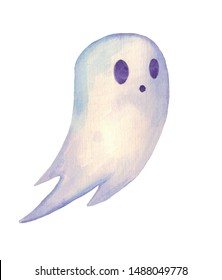 Cute little ghost. Hand drawn watercolor halloween symbol. Isolated on white.