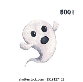 Cute little ghost isolated on white background. Spooky for halloween decorations. Watercolor illustration.