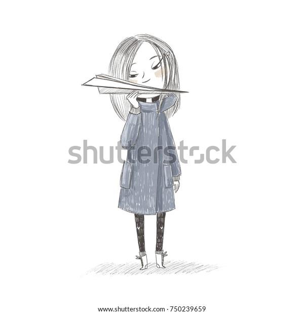 Cute Little Girl Holding Paper Airplane Stock Illustration 750239659