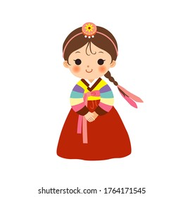 Cute little girl in Korean traditional costume(Hanbok).