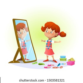 Cute little girl looking in the mirror trying on big shoes. Raster illustration.