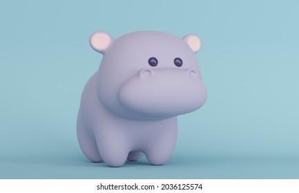 Joli petit hippo sur fond bleu. Rendu 3d