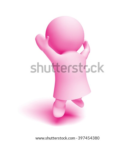 cute little human 3d character in shades of pink wearing a gown jumping  enthusiastically in a 7a9b23578