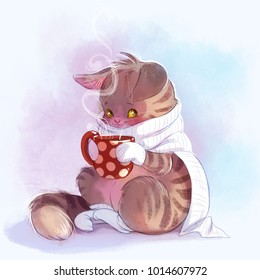 Cute little kitten with a cup of hot cocoa. Cartoon illustration.