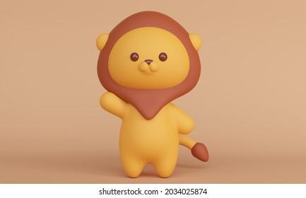 Joli petit lion sur fond marron. Rendu 3d