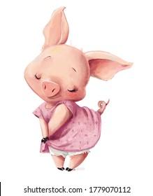 cute little lovely cartoon pink with pink dress