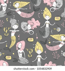 Cute little mermaid seamless pattern. Believe in miracle. Textured  illustration. Scandinavian style. Mermaids, corals and fishes.