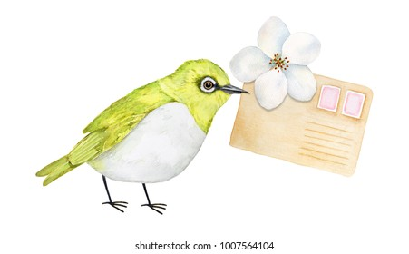 Cute little oriental white-eye bird holding in beak blooming flower and post letter. Brown craft paper, pastel pink postage stamps. Hand drawn water color art drawing on white background, cut out.