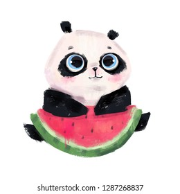 Cute little panda bear with big blue eyes and watermelon slice. Hand drawn colored illustration