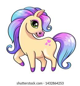 Cute little pony. Illustration isolated on white background