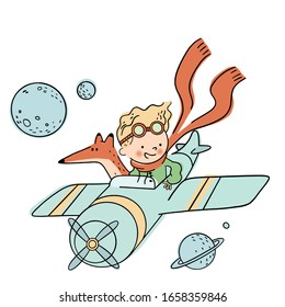 Cute Little Prince is flying a plane with his Fox