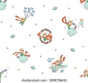 cute little prince seamless pattern fabric pattern  fox and stars
